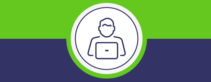 Customer Portal Graphic on blue and green background
