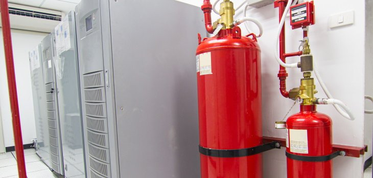 FM200 fire suppression gas canister in a data centre