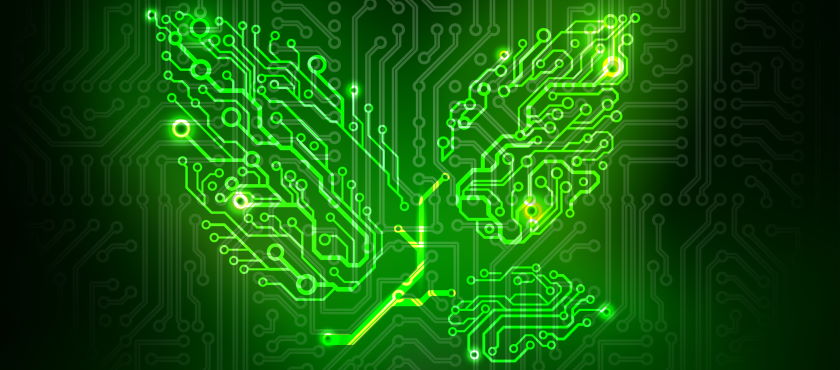 Green leaf motif created by computer circuits representing sustainability