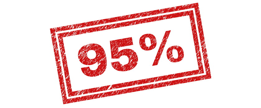 95% ninety-five percent red stamp