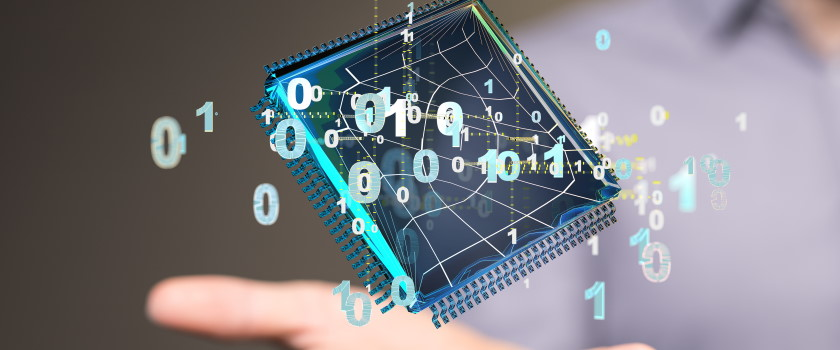 Computer chip and binary code representing virtualisation