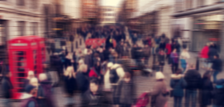 Crowded London street, no social distancing